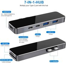 7in1 Dual USB C Hub Adapter with Thunderbolt 3, 4K HDMI USB 3.0 Type-C Data Port SD/TF Card Reader For MacBook Pro/Air 2018-Now стоимость