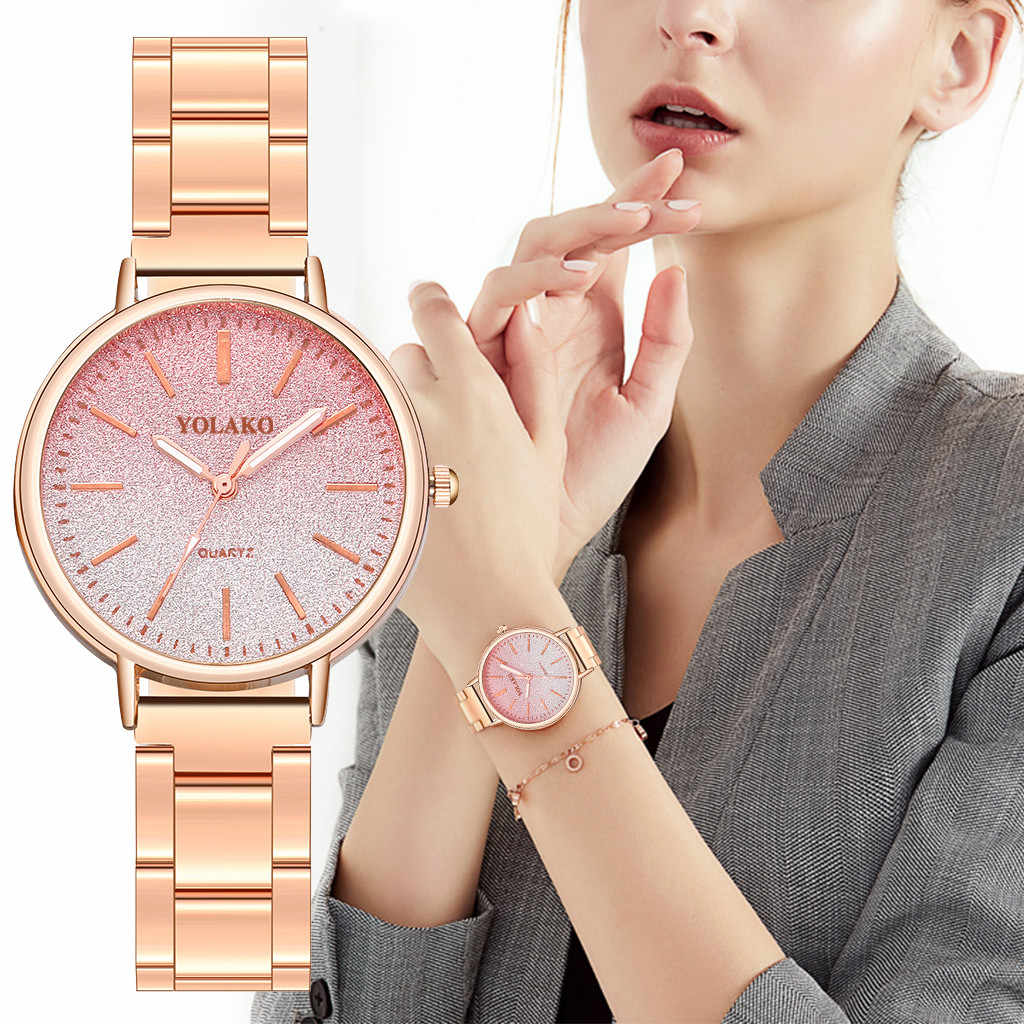 reloj mujer Fashion Simple Gradient Dial Stainless Steel Strap luxury Ladies Quartz Watch Female  Clock Dropship  relogio