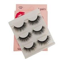 False-Eyelashes Natural-Hair 3d Mink Makeupfake YSDO 3-Pairs