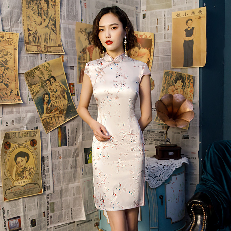 Hot Sale Ladies Print Satin Cheongsam Chinese Style Short Qipao Summer Formal Dress Novelty National Dress S 3XLCheongsams   -