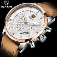 2020 benyar top marca nova moda casual masculino relógio de quartzo luxo militar pulseira de couro cronógrafo relógio masculino relogio masculino