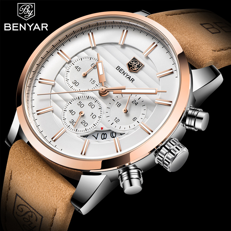 2020 <font><b>BENYAR</b></font> Top Brand New Casual Fashion Men Quartz Watch Luxury Military Leather Strap Chronograph Men Watch Relogio Masculino image
