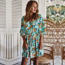 Летнее платье с цветочным принтом в стиле бохо 2020 свободные