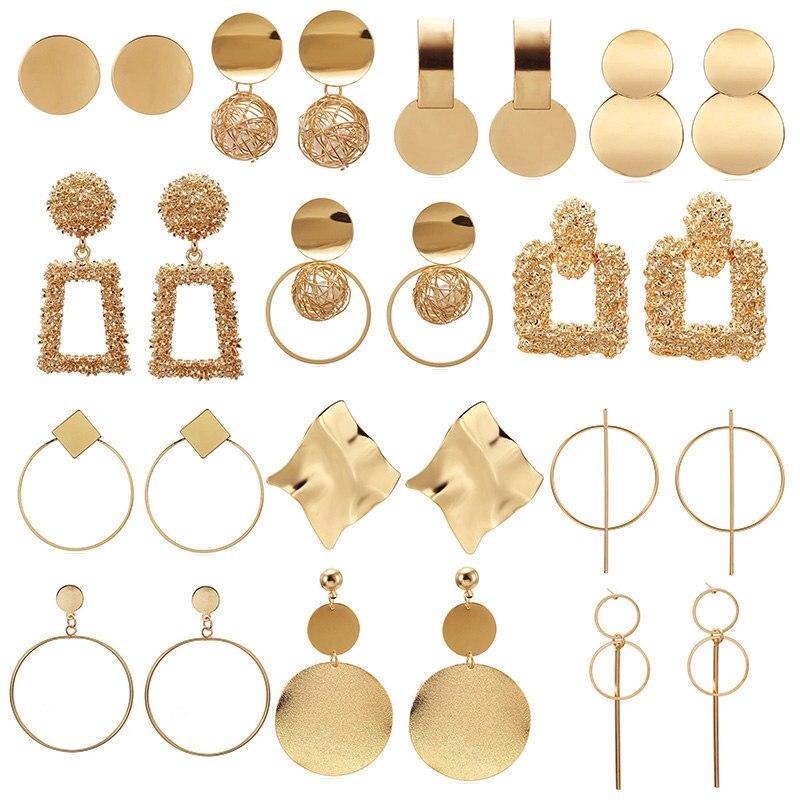 fashion geometric big round earrings women drop earrings jewelry