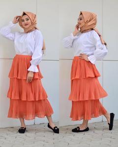 Image 3 - Muslim Women Long Sleeve Blouse White Casual Top Shirt Turtle Neck Loose Clothes Plus Size Elegant OL Style Blouse Islamic Arab