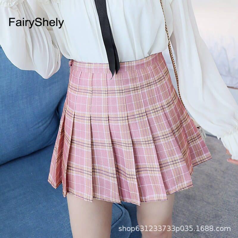 2019 Autumn Winter High Waist Umbrella Skirt A Word Skirt Wild Waist Woolen Female Flared New Poncho Skirt Pink Plaid Skirt