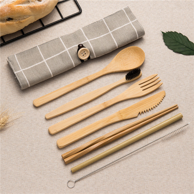 Tableware Set Bamboo Cutlery Set Wood Straw with Travel Cloth Bag Wooden Spoon Fork Knife Dinnerware Set Wholesale 2