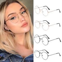 Gafas de protección contra luz azul para hombre y mujer, anteojos de Metal ultraligeros, redondos, Vintage, protección ocular, bloqueador de rayos azules, para ordenador