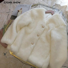 2019 Winter Chic V neck Hairy Shaggy Faux White Fur Coat Pearl Buttons Long sleeve Furry Fur Women Jacket Short Outerwear(China)