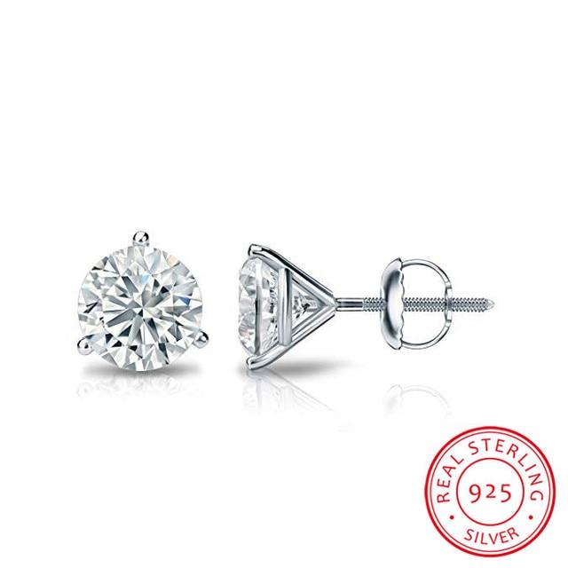 Luxury  6/7or 8mm Round Lab Diamond sterling Earrings 2