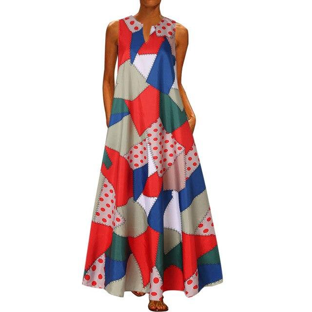 2020 Floral Print Boho Casual Long V-neck Off Shoulder  Maxi Dress  3