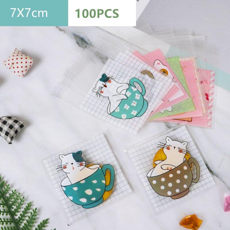 100 шт милый кот пластиковый самоклеющийся мешок для упаковки печенья для малышей, детей, для вечеринки, конфеты, подарочные украшения, сумки ...