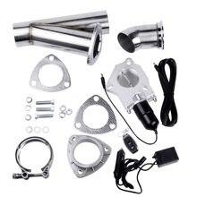 ''2.25'' 2.5 ''3.0'' inoxidável 2 Cabeçalhos Y Tubulação Válvula de Descarga Elétrica Kit de Escape Recorte Com Controle Remoto Kit Tubo Catback Para Baixo