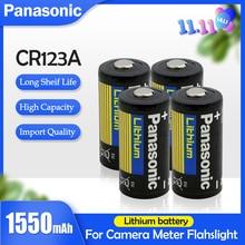 Panasonic bateria de lítio original 3v 1550mah, 4 unidades, cr123 cr 123a cr17345 16340 cr123a bateria primária seca para medidor da câmera