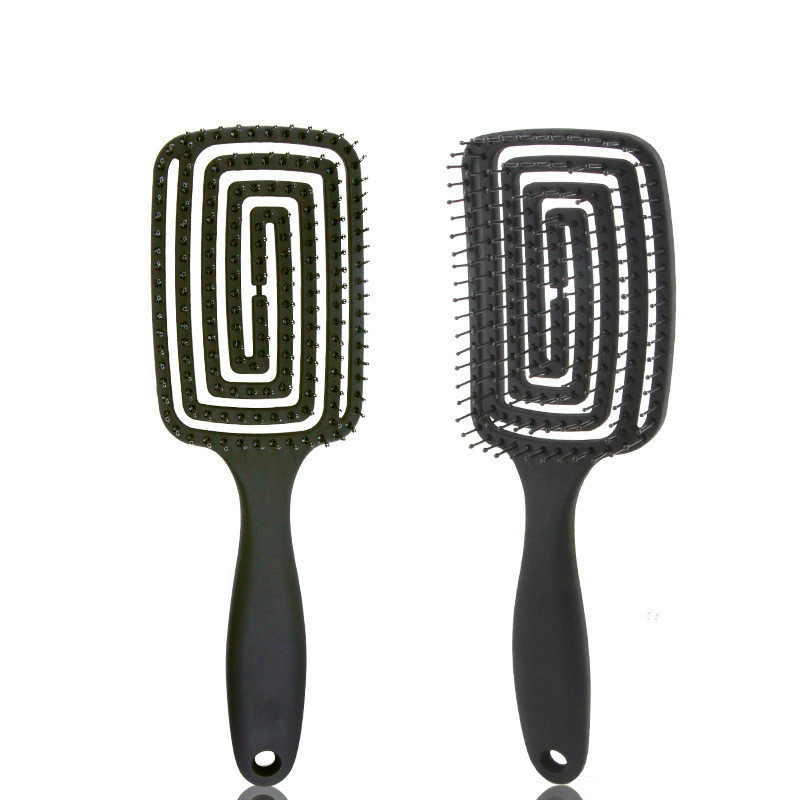 Black Wet/dry Use Anti-Static Hair Brush Hair Comb Curved Comb With Matte Texture Handle Massage Comb Styling Tools