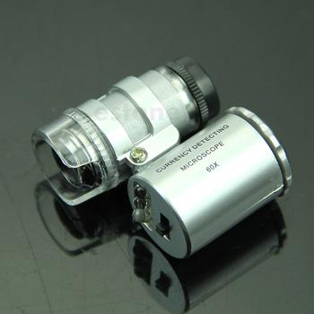 Mini 60X lupa mikroskop UV jubiler lupa detektor walut z LED światła U1JB tanie i dobre opinie AIMOMETER NONE CN (pochodzenie) 500X i Pod U1JB37626 OTHER Mikroskop biologiczny Monokularowy Silver Glass Approx 3 8cm*3 5Cm*1 6cm (L*W*H)