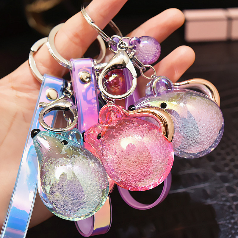 2020 New Fashion Acrylic Crystal Bubble Jelly Mouse Key chain Women Fashion Laser Leather Bag Pendant Accessories
