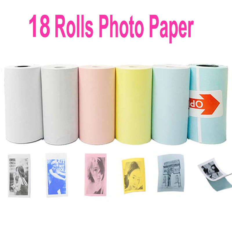 20 Rolls Color White Thermal Paper Label Paper Sticker Paper For PeriPage PAPERANG Photo Printer Mini Pictures Printer