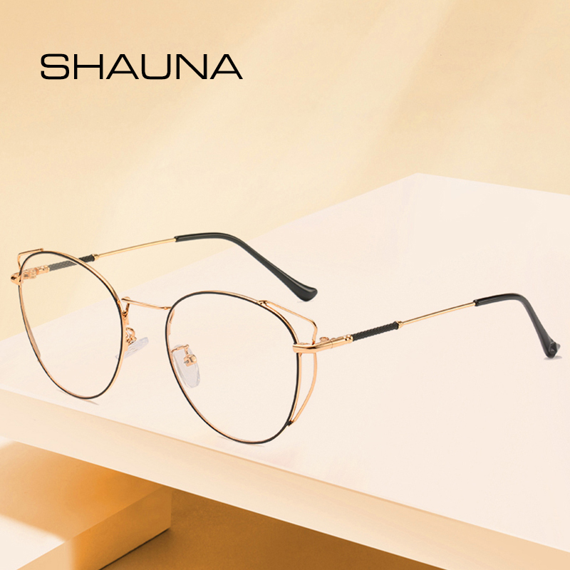 SHAUNA Classic Metal Frame Cateye Glasses Eyewear Retro Fashion Women Light Alloy Eyeglasses Frame Anti-Blue Ray