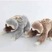 New product simulation kneeling sloth plush animal soft stuffed toy backpack pendant key ring doll wholesale 12cm 198