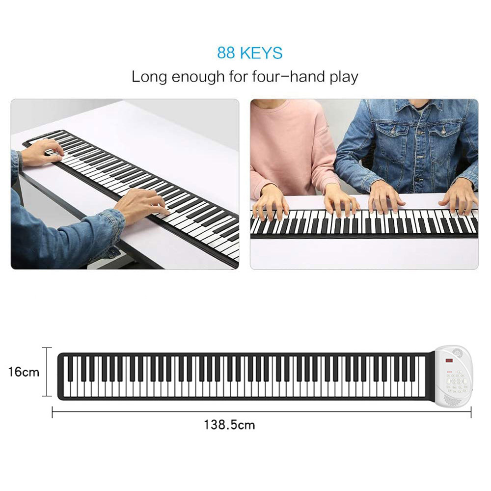 Electronic Music Instrument Toy Roll-Up Piano Portable Flexible Hand Roll Piano Environmental Silicone Keyboard 88 Keys Kid Gift