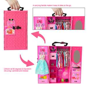Image 4 - DIY miniature dollhouse doll house doll closet with doll house furniture toys for children Christmas gift