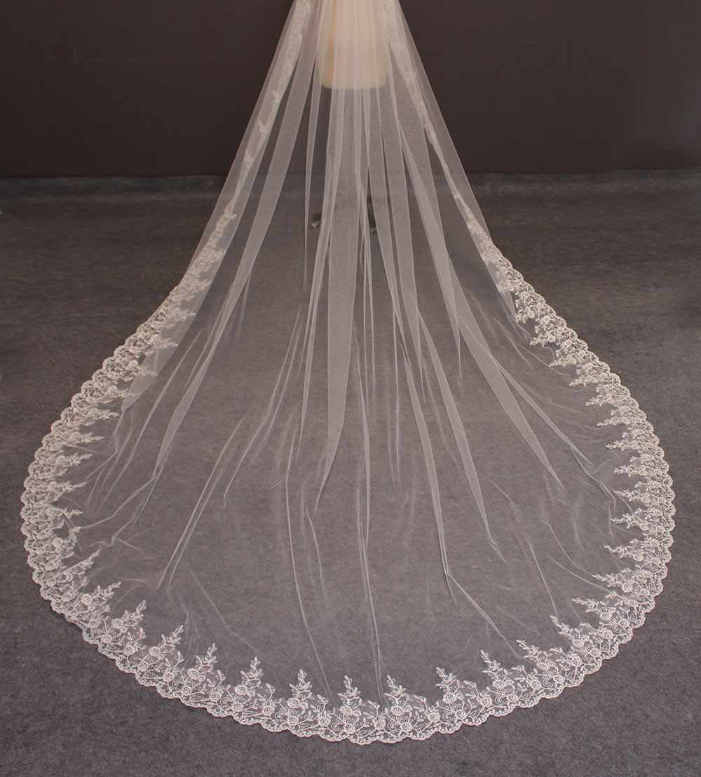 Lace Long Wedding Veil 3.5 Meters White Ivory Bridal Veil with Comb One Layer Bride Veil Voile Mariage