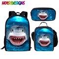 NOISYDESIGNS 3 шт./компл. детские школьные сумки море океан печати Школьный рюкзак для детей с узором «Акула»; портфели для мальчиков классный школ...