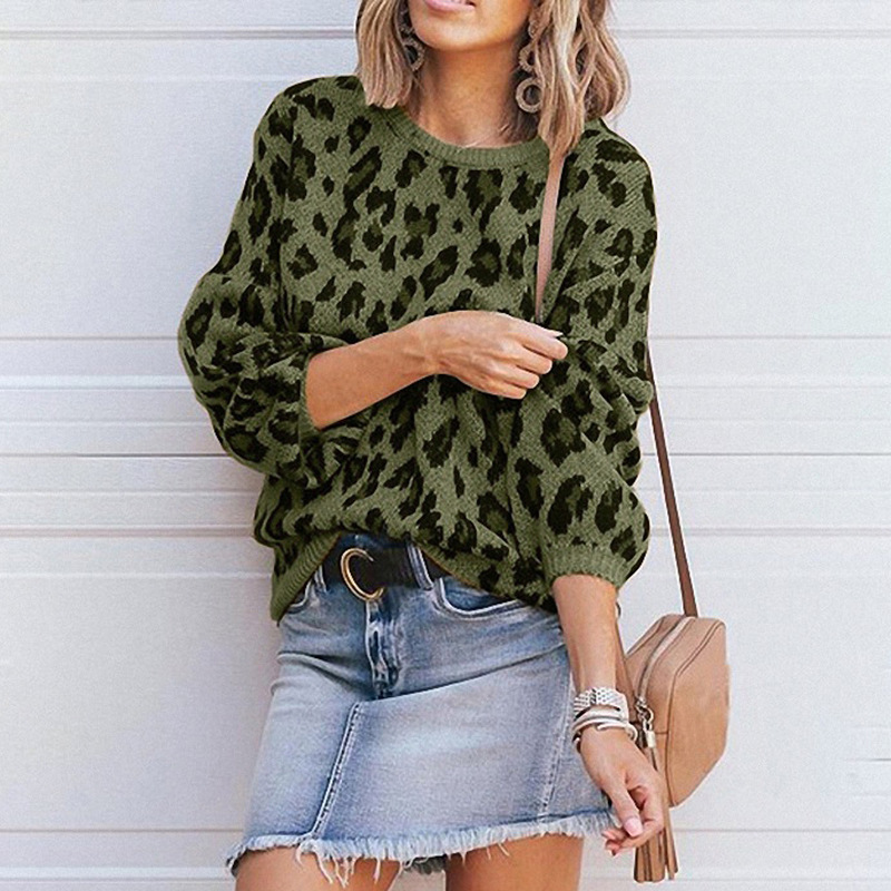 Womens Autumn 2019 Long Lantern Sleeve Leopard Knitted Sweater Korean Style Pullover Ladies Winter Sweaters Jumper Clothes in Pullovers from Women 39 s Clothing