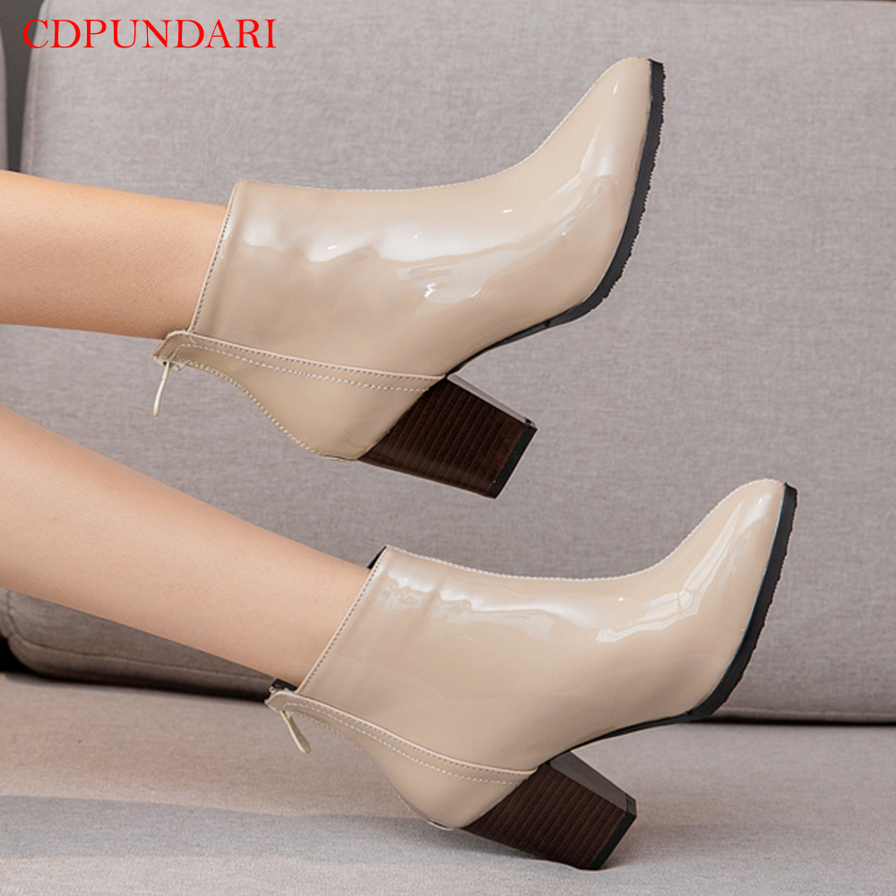 Round Toe zipper Ankle boots for women High heels boots Ladies Casual autumn Short boots shoes black red Beige