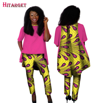 2019 African Women Clothing 2 Pieces Set Straight Pants Sets Dashiki Print Long Coat Crop and Pant Sets African Clothing WY1572