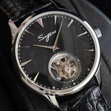 بسيطة الرجال ريال توربيون ساعة حقيقية التمساح حلقة من جلد رجال الأعمال الميكانيكية ساعات المعصم ST8000 حركة اليد الرياح