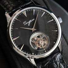 Montre bracelet mécanique pour hommes, bracelet à Tourbillon, en cuir véritable, ST8000, mouvement à main