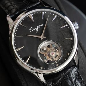 Image 1 - פשוט גברים אמיתי Tourbillon שעון אמיתי תנין עור עסקי רצועת Mens מכאני יד שעונים ST8000 יד רוח