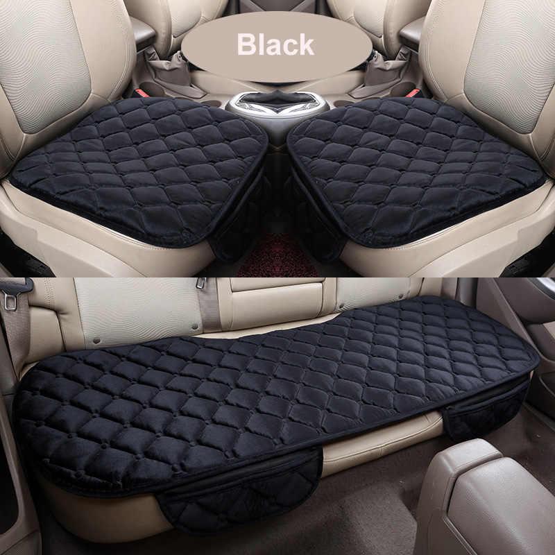Зимний чехол для автомобильного сиденья, передний/задний/полный комплект, подушка сиденья, нескользящий короткий плюшевый стул, авто протектор подушки сиденья, коврик, коврик