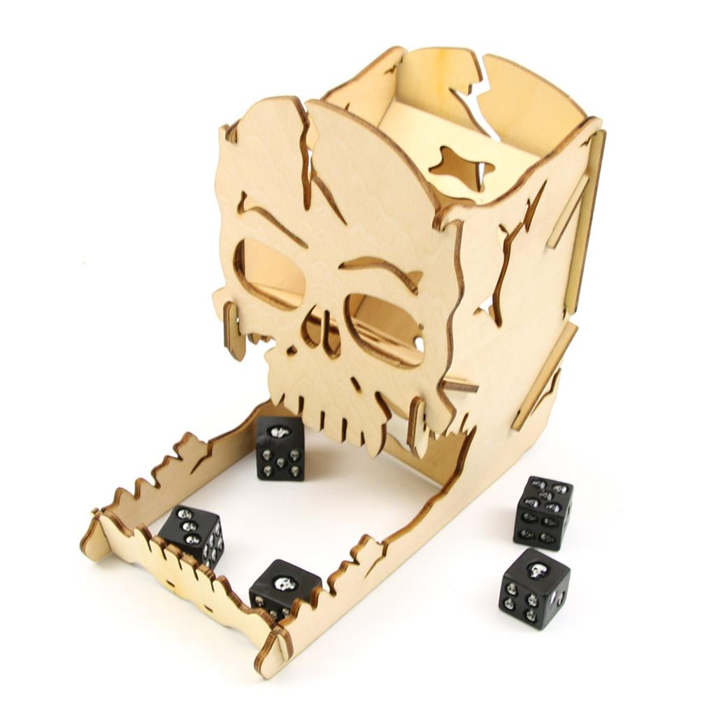 Dice Tower And Tray Wood Skull Carving Dice Easy Roller For RPG Board Games