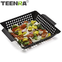 Grill-Pan Square Non-Stick Stainless-Steel TEENRA Tray Bbq-Tools Food-Vegetable-Basket