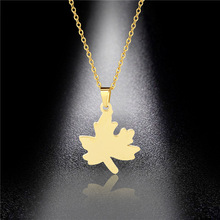Maple Leaf Pendant Lady Pendant Necklace New Personality Hip Hop Stainless Steel Leaf Necklace Hypoallergenic Accessories