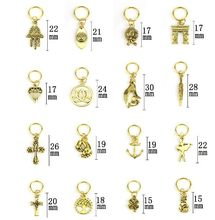 10Pcs/Pack Gold 14 styles Charms diy hair braid dread dreadlock beads clips cuffs rings Jewelry dreadlock hair accessories(China)