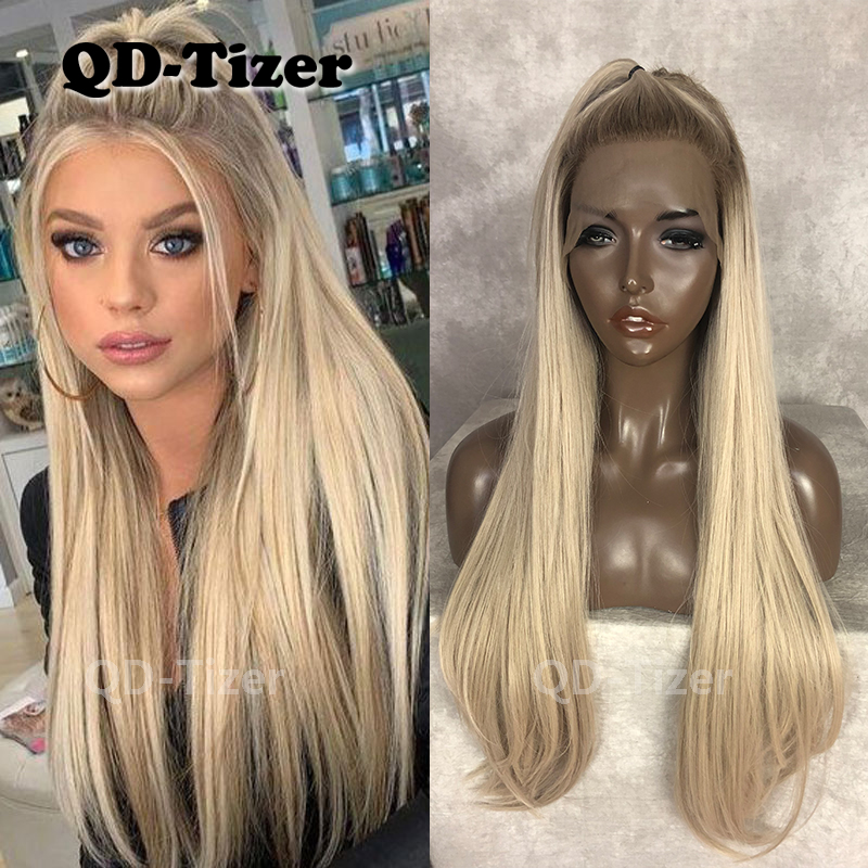 QD-Tizer Ombre Blonde Color Lace Front Wig Glueless Dark Root Synthetic Lace Front Wigs Straight Hair For Women