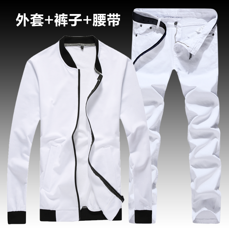 New Men's Casual Set Jacket Pants 2pcs Set Long Sleeve Coat Trousers O-neck Mens Clothing  Two Piece Pants Set A13