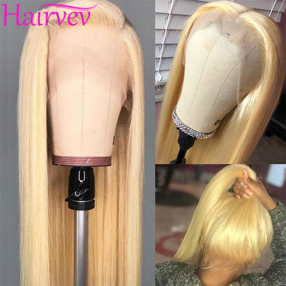Hairvev 13x4 613 Blonde Lace Front Human Hair Wigs Brazilian 150% Density Blonde 613 Straight Lace Front Wigs With Baby Hair