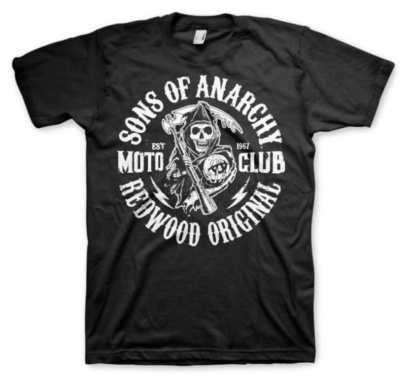 T Shirt Sons Of Anarchie Soa Sequoia Originale Moto Club di Tiro Homme Hybris