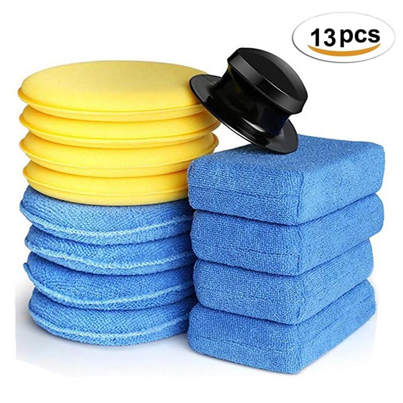 13pc/set Car Wax Applicator Pads Kit 5 Inch Microfiber Pads Blue Sponge Applicators Yellow Soft Foam Waxing Pad With Grip Handle