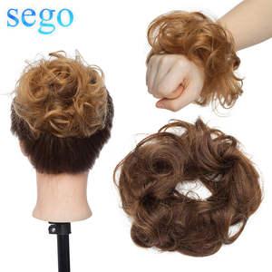 SEGO Hair-Bun Ponytail Scrunchies Human-Hair Bundle Wrap Donut-Chignon Updos Curly Remy