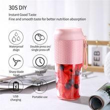 Mélangeur Rechargeable avec USB 3 lames, presse-agrumes, tasse, jus, agrumes, citron, légumes, fruits, Smoothie, batterie, 300ML