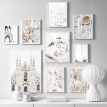 Trevi Fountain White Flower Reed Church Wall Art Canvas Painting Nordic Posters And Prints Wall Pictures For Living Room Decor