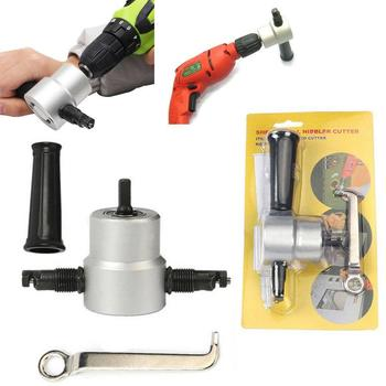 GloryStar Double Head Sheet Metal Nibbler Saw Cutter Cutting Tool Power Drill Attachment(Silver) double head high speed steel sheet metal cutter for power electric drill silver black