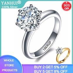 Mają 18krgp znaczek czysty 18K solidny biały/pierścionek z żółtego złota pasjans 2ct cyrkonia diament biżuteria ślubna srebro 925 pierścień