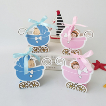 50pcs Pink Girl Blue Boy Paper Baby Carriage Candy Box Kids Favor And Gift Shower Birthday Party Decoration Supplies